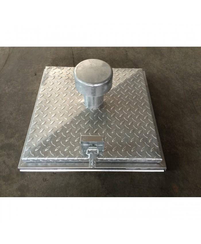 Brunnenschachtabdeckung DN 600 verzinkt mit Belüftungshut und Insektenschutzgitter